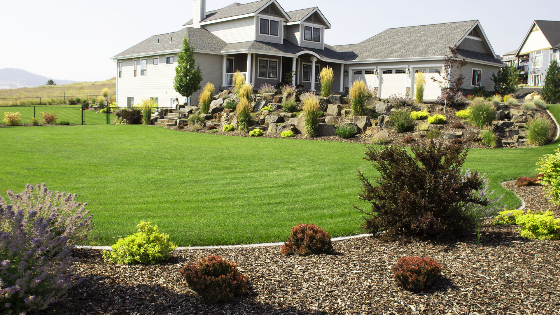 Close up of a fertilized lawn in Liberty Lake, WA.