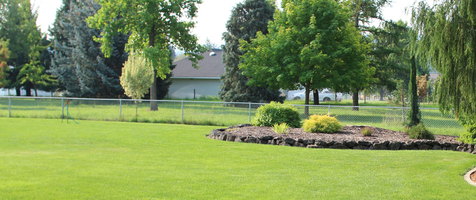This Liberty Lake, WA home has a healthy lawn thanks to our fertilization and weed control treatments.